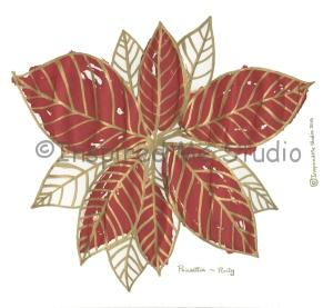 Floriography inkblot of a poinsettia with the meaning of purity.
