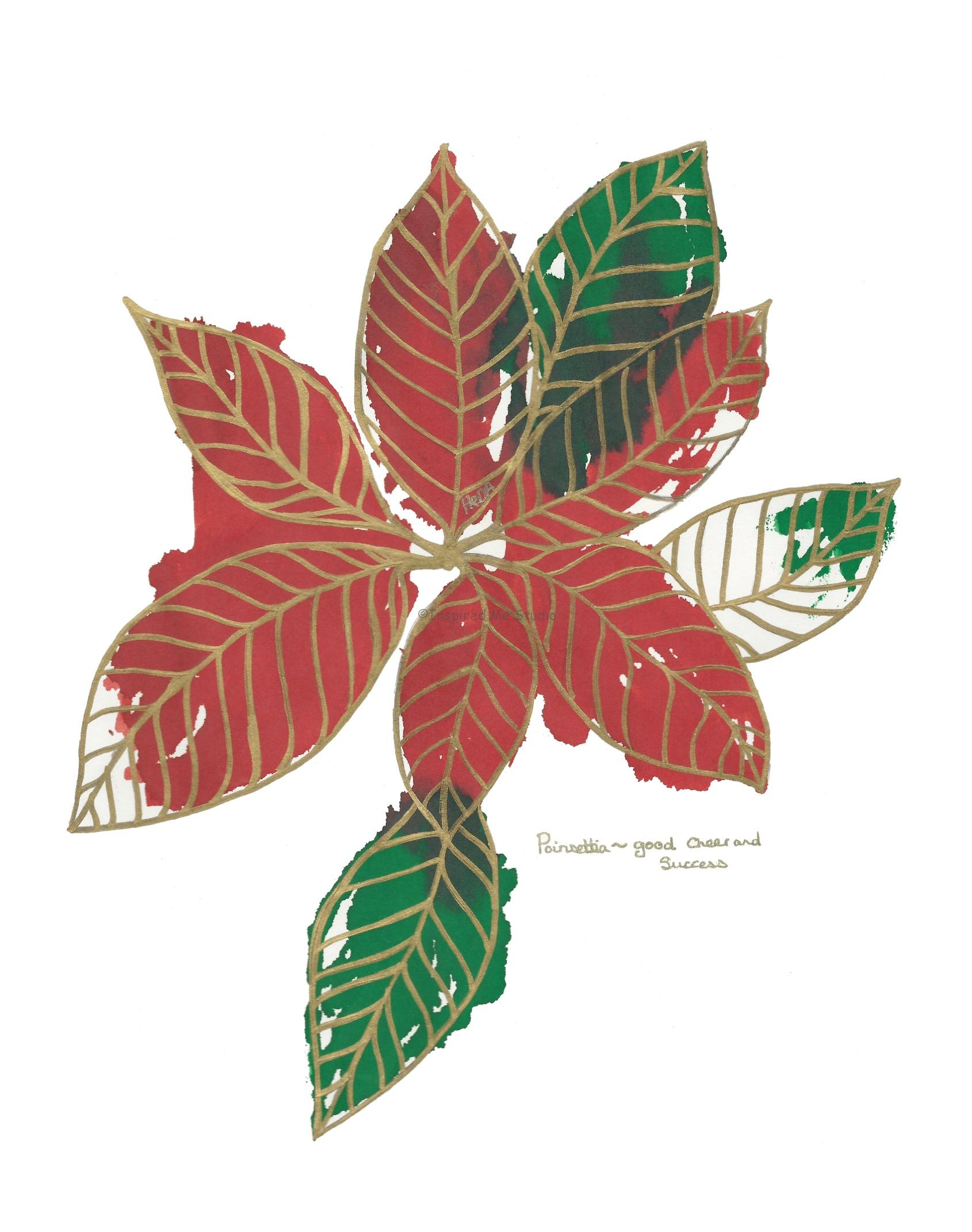 Green and red Poinsettia floriogprahy inkblot artwork. The Poinsettia ~ Good cheer and success.