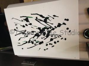 drawing in green ink, with a dropper. This is how my inkblot art starts.