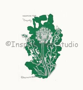 Coquetry Floriography Inkblot of the Dandelion. Finished piece.
