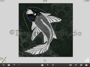 In Progress Koi Carp close to being finished. Screen shot of the work in the Art Rage app which I am creating it in.