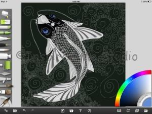 Screen shot of Koi Carp in progress within the app. With lighter blue eyes.