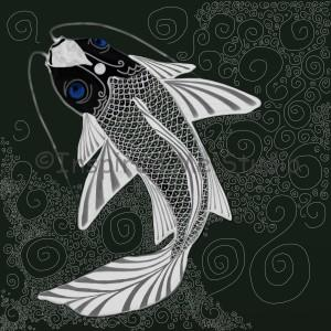 Dark blue eyed koi carp.