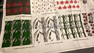 The three fabric samples of the praying mantis prints