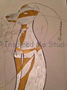 mummy and me Italian greyhound drawing. Work in progress