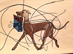 Gone Shopping, Italian Greyhound Dog art with bag, mommy and me art
