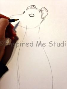 Mummy and Me Art, Italian Greyhound Sketch In Progress