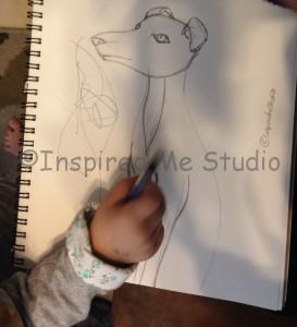 mummy and me Italian Greyhound sketch in progress