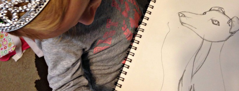 mummy and me art collaboration in progress, Italian Greyhound dog sketch. How to create an art collaboration with a toddler