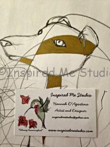 Italian Greyhound, mummy and me art in progress